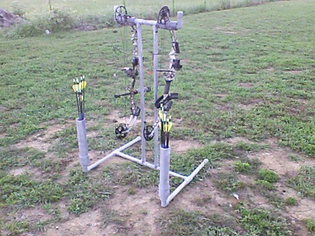 homemade bow stand for backyard archery range missouri