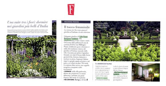 Villa Pisani Bolognesi Scalabrin is on F, one of the most important magazine in Italy.   #Pressreview #Micaelascapin #VillapisaniBolognesiScalabrin #garden