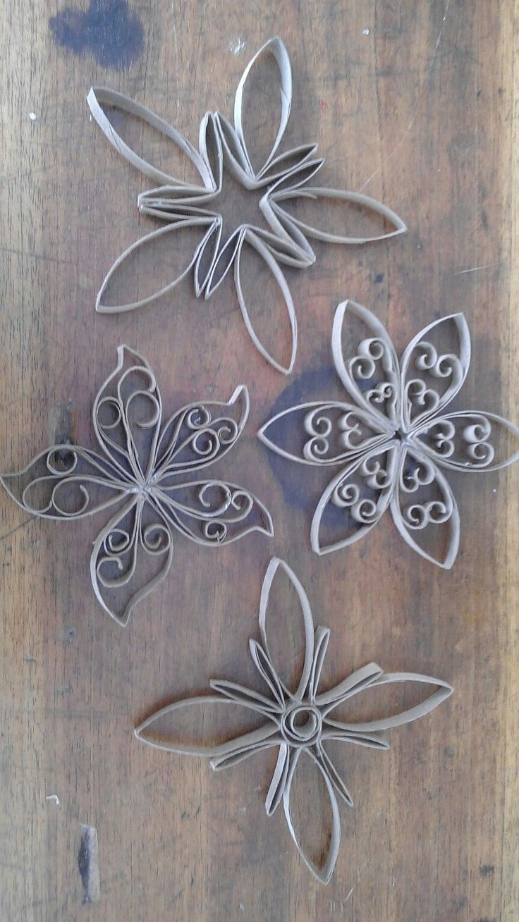 DIY Toilet Paper Roll Snowflake Ornaments. Can spray paint