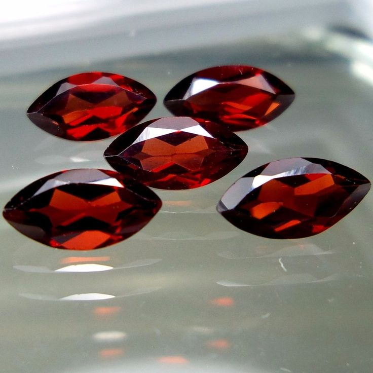 4x8 MM Natural Mozambique Red Garnet Faceted Marquise Shape 5 Pieces Lot 4 Carat #Unbranded