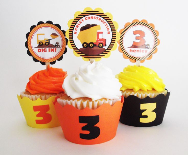 Construction Cupcake Toppers Wrappers Set