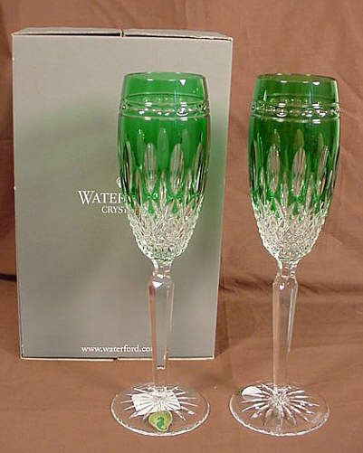 2 waterford champagne flutes clarendon emerald green - Waterford Champagne Flutes