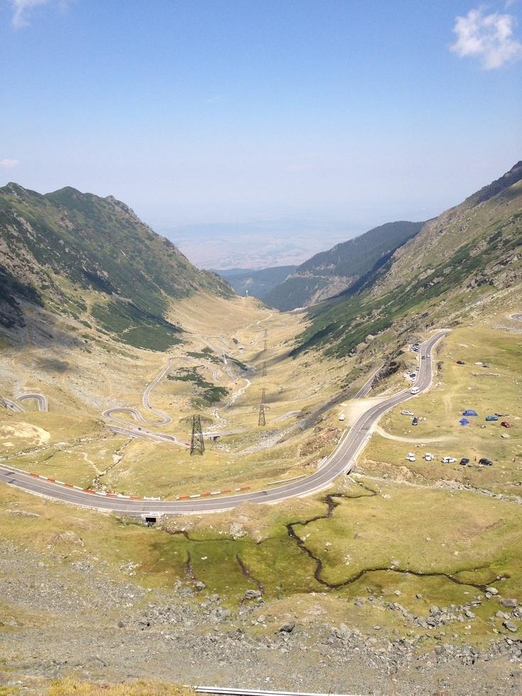 Balea - View over Transfagarasan road - Romania.