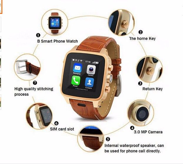 android smart phone watch with touch display/gps watch phone 3G phone with 5mp camera free shipping