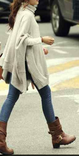 Winter Days Cream Ivory Knit Turtleneck Boho Poncho Sweater OS | eBay - love boots too