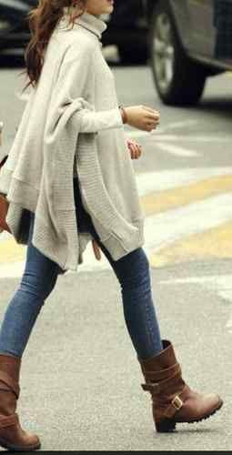 Winter Days Cream Ivory Knit Turtleneck Boho Poncho Sweater OS | eBay