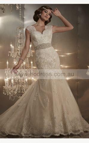 Mermaid Sweetheart Natural Cap Sleeves Floor-length Wedding Dresses wcs0069--Hodress