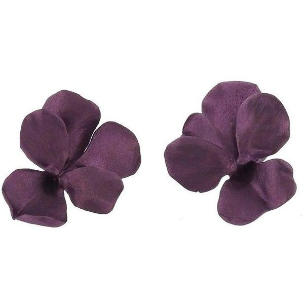 Jar Titanium Gold Purple Pansies Earrings ❤ liked on Polyvore featuring jewelry, earrings, 18 karat gold jewelry, 18k gold earrings, flower earrings, flower jewellery and titanium jewelry