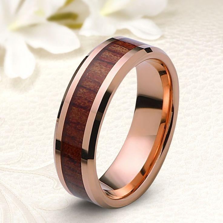 Rozé arany bevonatú fa berakásos tungsten karikagyűrű
