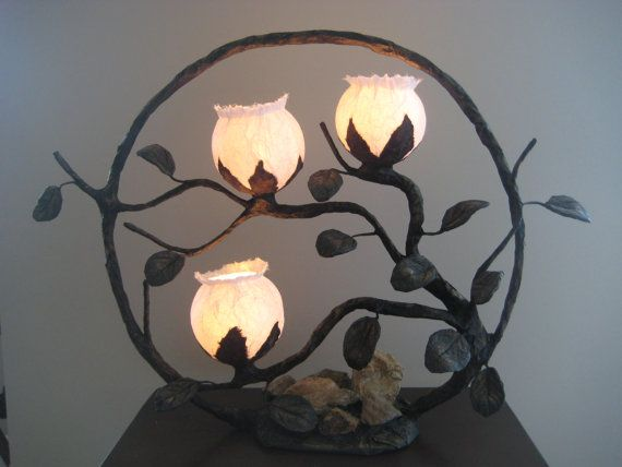 Traditional round Korean lamp with three globes