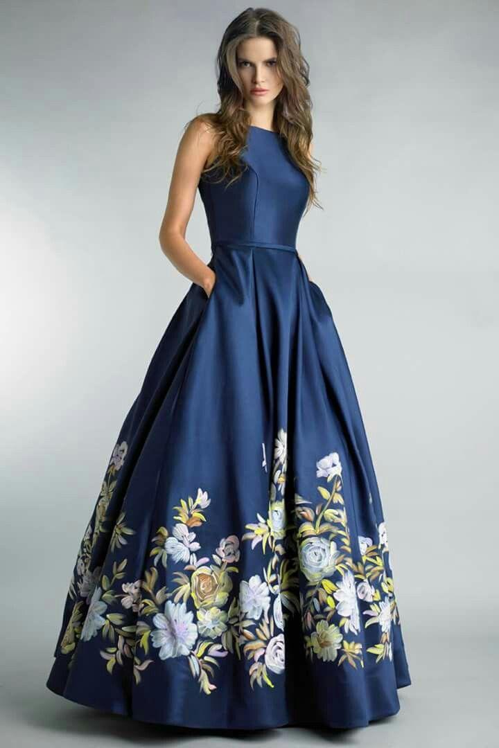0ff4fc5841b5 Sleeveless Blue floral printed maxi evening dress   Maxi Evening ...