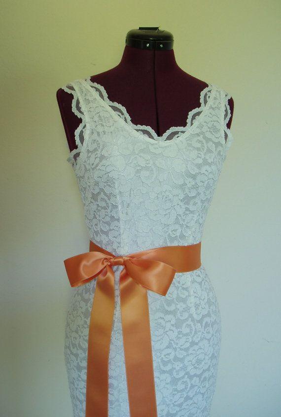 Bridal Wedding Dress Sash Plain APRICOT TANGERINE by WeeGardens, $27.00