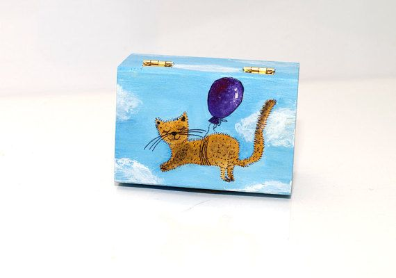 Hand painted box - Cat jewelry box - Wooden box with lid painted - Cat jewellery case - Keepsake box - Christmas gift under 25 usd - Wooden keepsake box