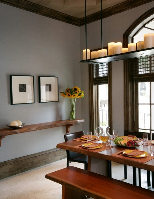 Dining Room With Gray Walls And Wood Trim Modern Accents