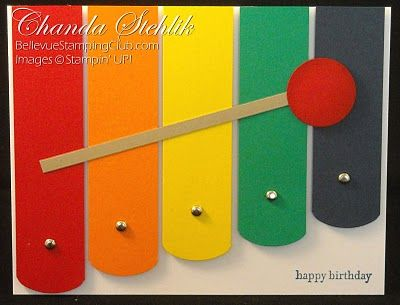 Bright & Colorful Xylophone Birthday Card...by one crafty mommy.