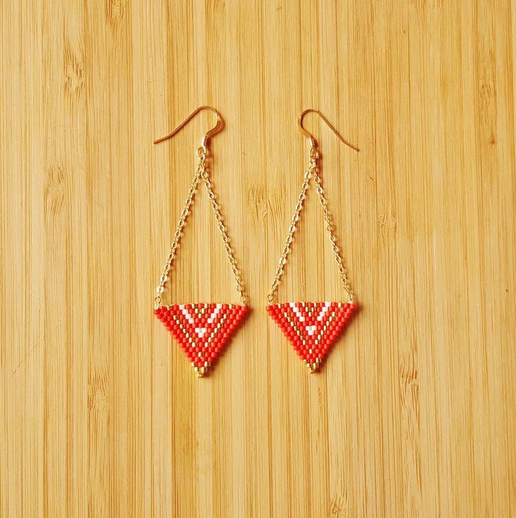 Boucles Apaches Corail plaqué Or 14 carats tissage de perles Miyuki