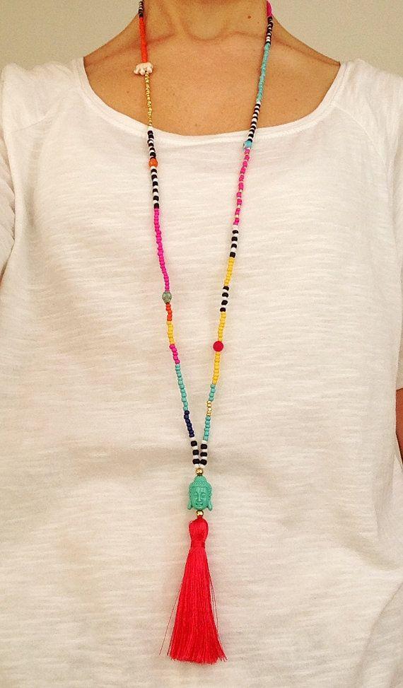 Collar de perlas de semilla multicolor con por EchoHandmadeDesign