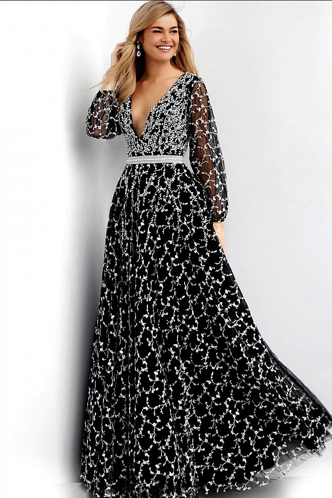 fb277d6094 Black Embellished Long Sleeve Prom Gown 60421 in 2019