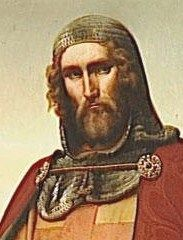 Guy de Lusignan was King of Crusader Kingdom of Jerusalem. His overconfident Crusader forces became trapped in a waterless desert area.  Ayyubid forces of Sultan Salah-ud-din al-Ayyubi, in The Battle of Hattin in 1187, captured or killed the majority of the Crusader forces.These defeats prompted the Third Crusade.