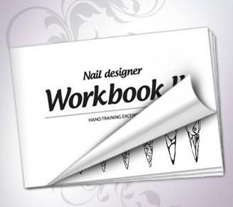 New nail designer workbook, edition nr 2. Consists of a variety of hand training sheets with different elements for practice, including explanations with the types of brushes to use. Also included: different blank nail shapes for practice, sheets with ready nail design.