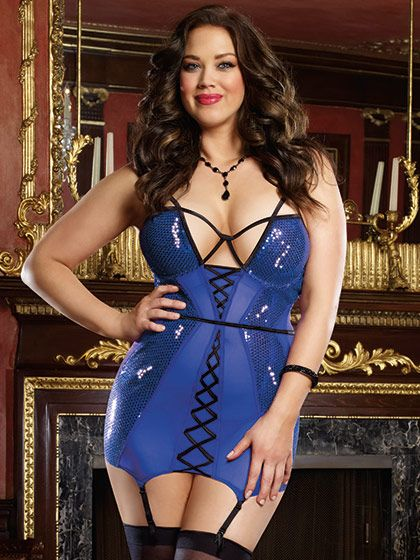 Strappy Sequin and Stretch Mesh Chemise