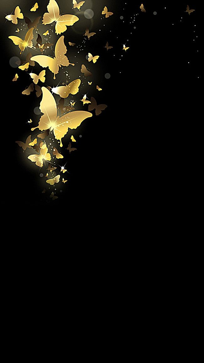 Atmospheric Black Background Gold Butterfly In 2019 Work