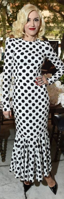 Who made Gwen Stefani's black pumps and white polka dot dress?