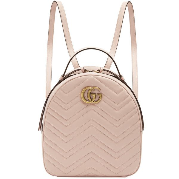 Gucci GG Marmont quilted-leather backpack ($1,790) ❤ liked on Polyvore featuring bags, backpacks, gucci rucksack, quilted leather backpack, gucci, zip bag and chevron pattern backpack