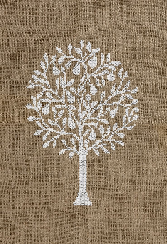 Pear Tree White - large cross stitch