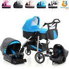 Pram Baby Pushchair 3in1 Car Seat Travel System Buggy Stroller Swivel Wheels