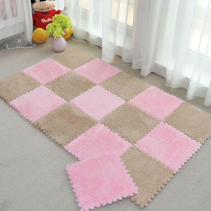 DIY magic Jigsaw 30*30CM living room bedroom children kids soft patchwork carpet  Splice slip-resistant puzzle climbing baby mat