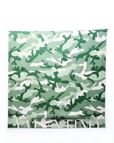 Valentino Camo Print Silk Scarf- Made in Italy