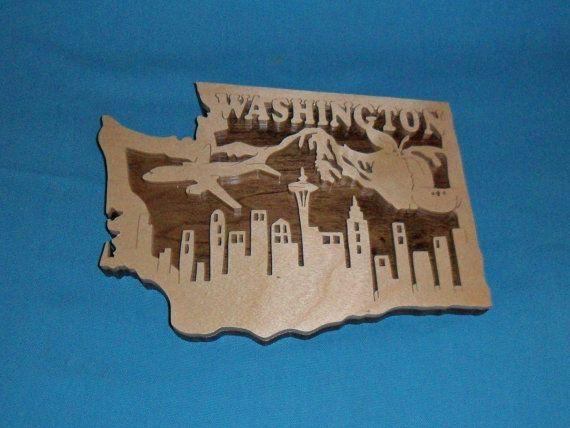Plaque en bois Scrol scie état de Washington par huebysscrollsawart