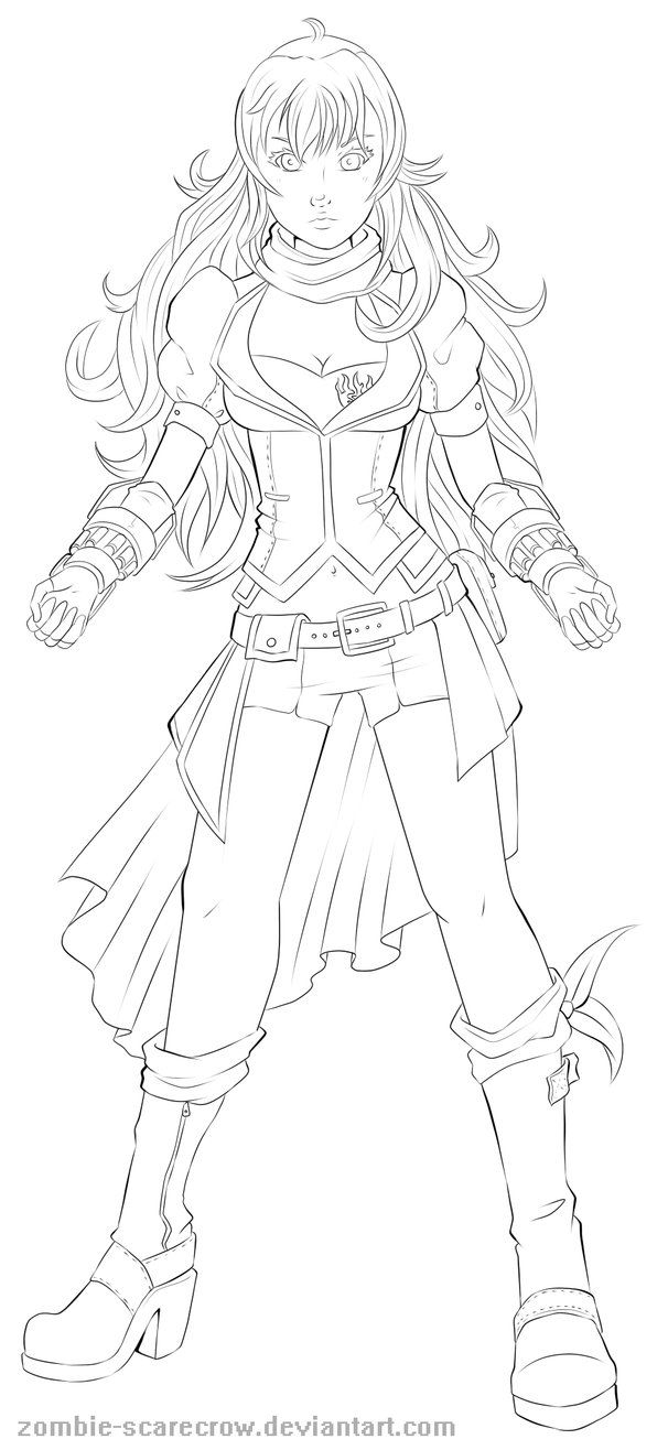 Rwby Yang Line Art By Zombie Scarecrow Color