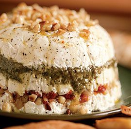 Goat Cheese, sundried tomatoes, pesto and pine nut dip