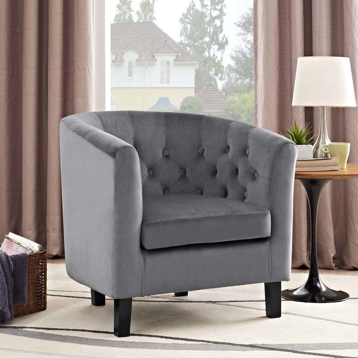 Ziaa Chesterfield Chair Upholstered Arm Chair Grey Armchair