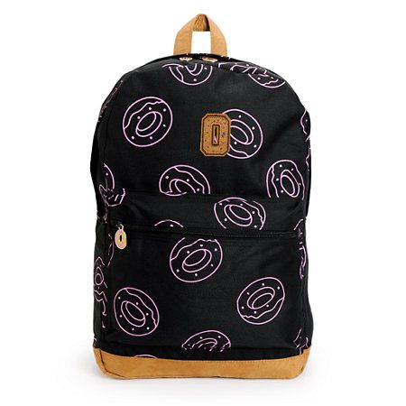 """Carry your stuff in style with pink donut print with a 15"""" padded laptop sleeve and inner mesh zip pocket with metal Donut logo zipper pulls."""