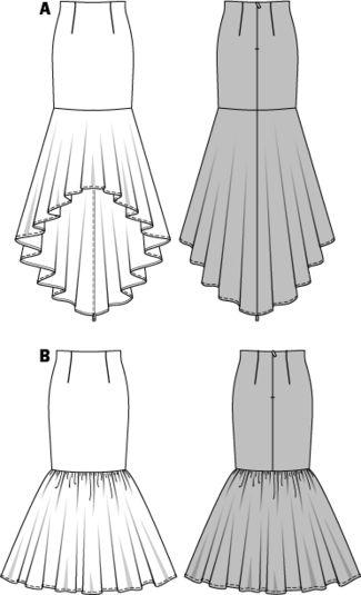 Burda - 7089 patroon fishtail rokken   Naaipatronen.nl   zelfmaakmode patroon online