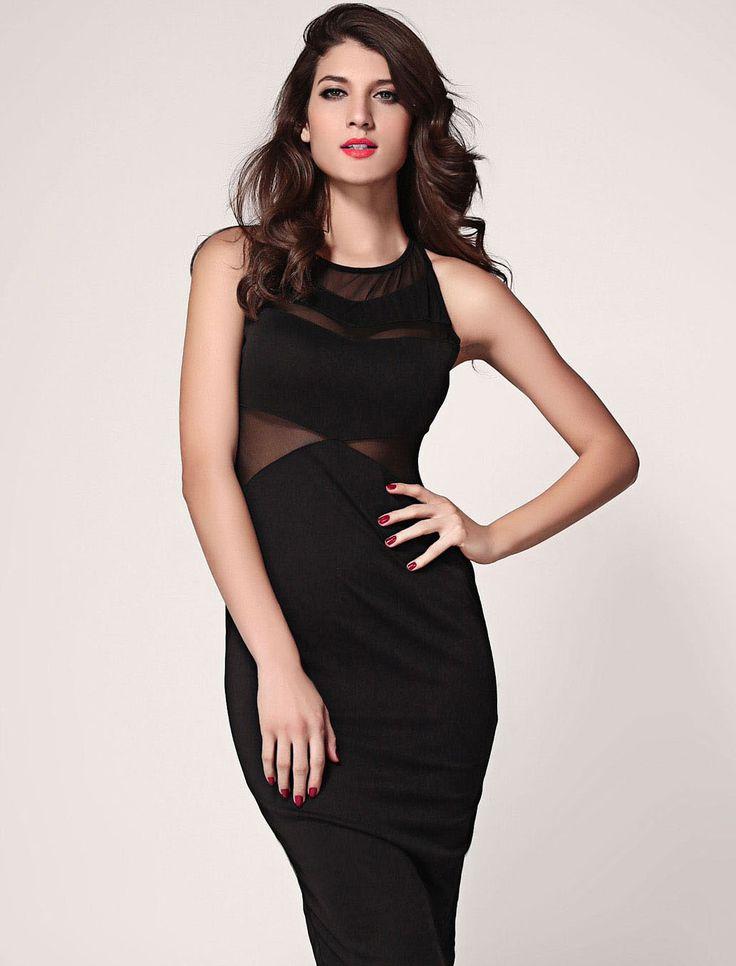 Chevron Mesh Sleeveless Midi Dress