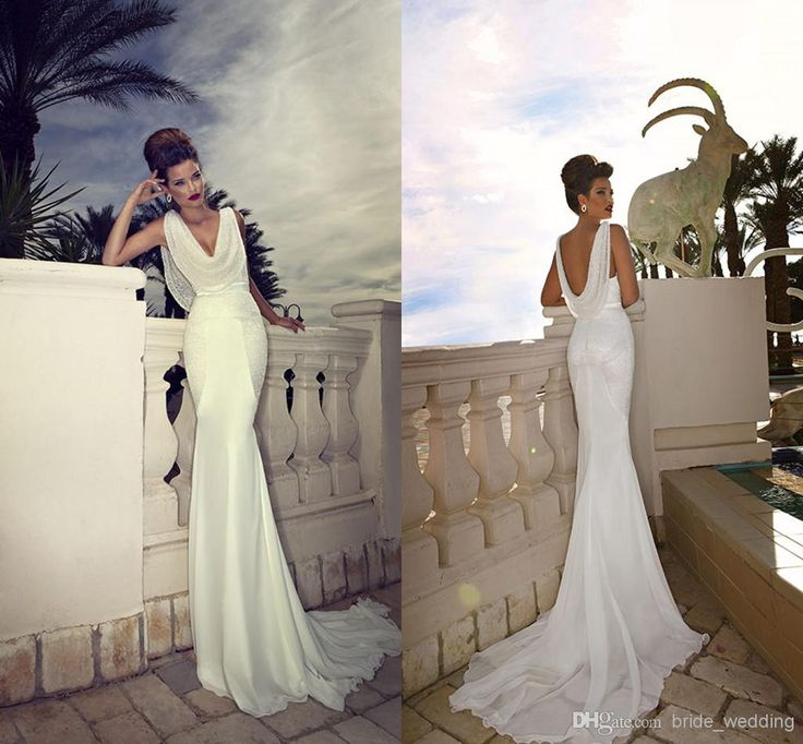 2014 Mermaid Scoop Neck Wedding Dresses Cowl Backs Beaded Chiffon Backless Plunging Court Train Dimitrius Dalia Bridal Gowns Evening Dresses