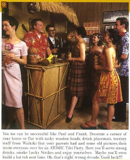 This comes from Atomic Magazine's Fall 1999 issue — a very tongue-in-cheek set of instructions on how to build a tiki bar, designed to look like a family-friendly (until you read the fi…
