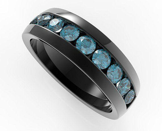 Men Wedding Band Unique Wedding Bands Wedding Ring Blue Etsy Blue Diamond Wedding Band Mens Wedding Bands Unique Blue Rings