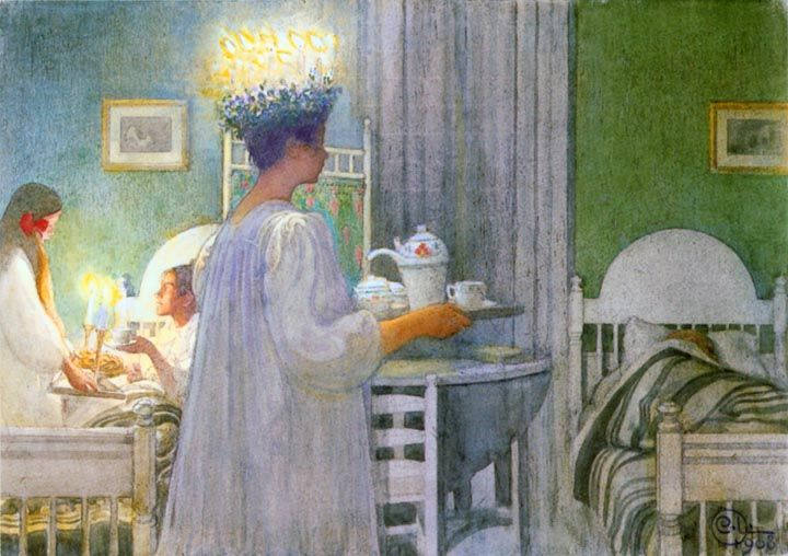 Santa Lucia Morning - by Carl Larsson. Repinned by www.mygrowingtraditions.com