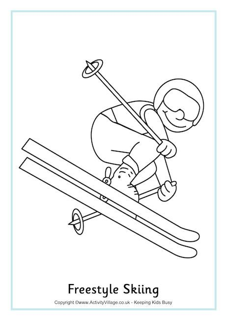 Freestyle Skiing Colouring Page. Winter Olympic printables.