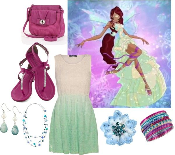 Layla - Harmonix by catloverd featuring flower hair accessories Ombre dress, $38 / Ankle strap shoes / Elle quilted handbag / Fresh water pearl earrings / Haskell / Sea shell jewelry / Tarina Tarantino flower hair accessory  Requested By:http://starlight-ghost.tumblr.com/