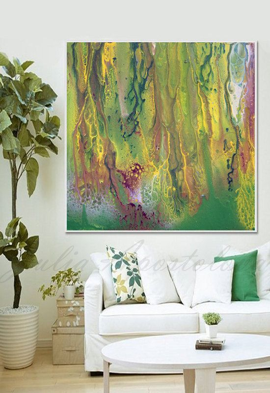 50inch, Green Watercolor, Print, Abstract Watercolor, Green and Yellow, Brown…