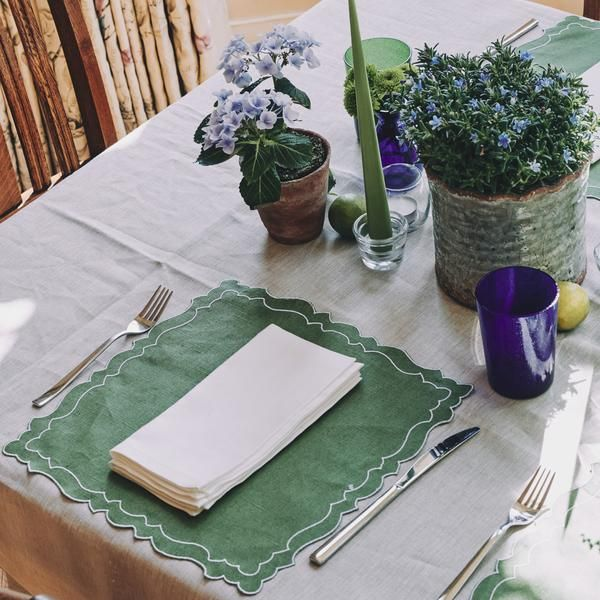 Emilia Coated Linen Placemat In Grass Green Rebecca Udall Placemats Linen Placemats Linen