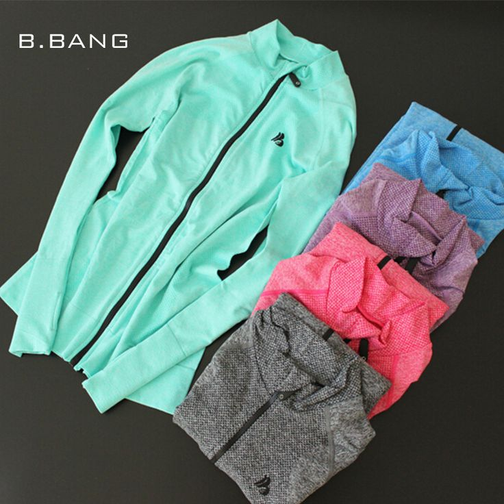 B.BANG 2016 Women Casual Jackets Quick Dry Long-sleeved Sweatshirt Zipper Coats for Fitness Exercise Sportwear Workout Outerwear