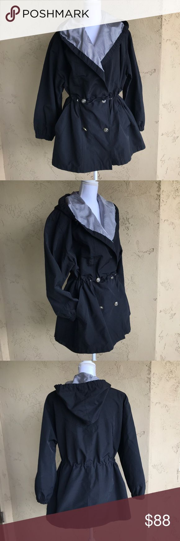 Gallery black rain coat trench coat sz M/L Gently used in excellent condition Gallery black rain coat trench coat sz M/L.  No size tag but would fit a medium/large.  Cinched waist. Buttons towards bottom.  Oversized/slouchy fit.    Measurements (inches):   Armpit to armpit: 26 Length: 31 Waist: 23 (un-cinched)  Sleeve: 22 in Shoulder: 21.5 Gallery Jackets & Coats Trench Coats
