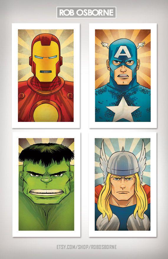 AVENGERS COLLECTION Comic Book Superhero Pop Art by RobOsborne, $65.95    * for Bubby's room: Cute Baby, Pop Art, Books Superhero, Superhero Pop, Comic Books, Boys Rooms, Art Prints, Collection Comic, Baby Rooms